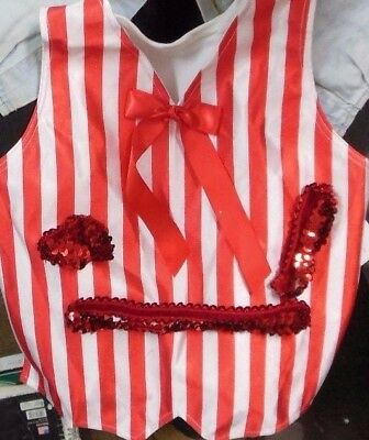 NWT Satinettefront Vest Red/White striped child size Int.6x-7C Costume item INK