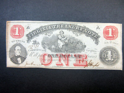 Virginia Treasury Note, 1862, issued $1 Obsolete Banknote AU/Uncirculated