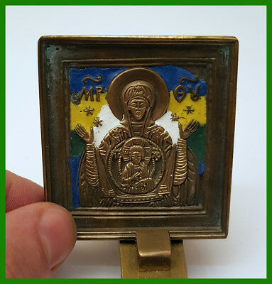 Russia Orthodox bronze icon The Virgin of Sign. Enamels.
