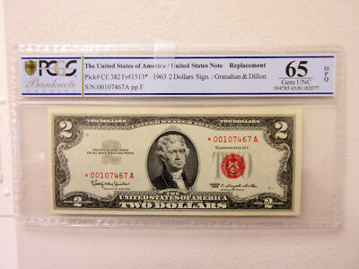 U.S. Note, $2 Series 1963 *Star-Replacement Note Fr#1513* PCGS Gem Unc 65 PPQ