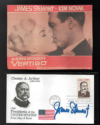 James Stewart Authentic And Genuine Hand Signed First Day Cover/vertigo Picture.