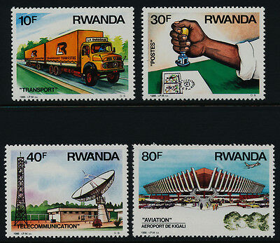 Rwanda 1243-6 MNH Trucks, Communicaiton, Airport, Mail Delivery