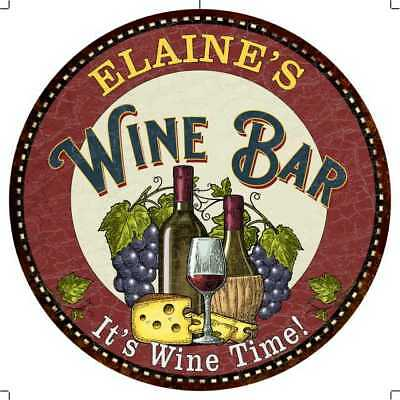 ELAINE'S Wine Bar Round Metal Sign Chico Home Wall Décor Chic Bar Gift R1400848