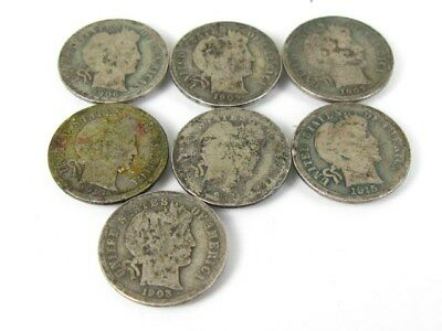 Collectible United States Silver Barber Dime Coin Lot of 7