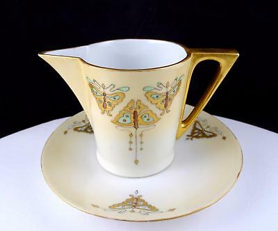 """Royal Bavaria Handpainted Gold Butterfly 3 1/4"""" Creamer & Underplate Set 1914"""