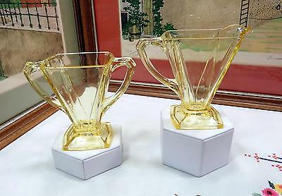 "Vintage Indiana Glass Yellow V Shape Flat Panels 4 1/4"" Sugar And Creamer Set"