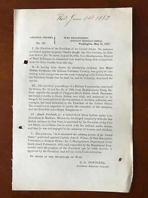 1863 Civil War Order ~Lincoln Pardons Sioux Indians in 1862 Uprising ~Mankato MN