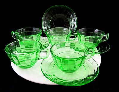 """Anchor Hocking 9 Pc Block Optic Vaseline Glass 2 1/4"""" Cups And Saucers 1929-1933"""