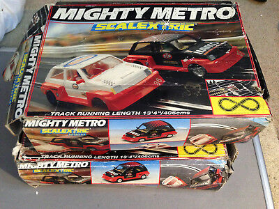 SCALEXTRIC MIGHTY METRO Vintage 1980s Racing Set Boxed,Working with cars