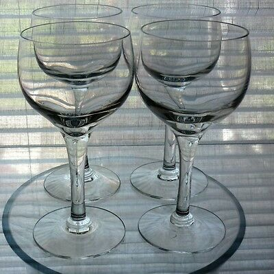 """Set of 4 Frank Thrower Dartington crystal """"Chateau"""" small wine glasses"""