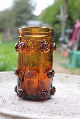 "Vintage Rheinish Amber Glass Humpen, Decorated With ""raspberry Prunts"", 5.75In"