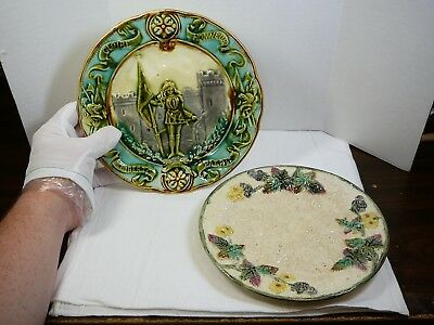 Lot of Two Antique Majolica Pottery Plates Joan of Arc & Clifton Blackberry Vtg
