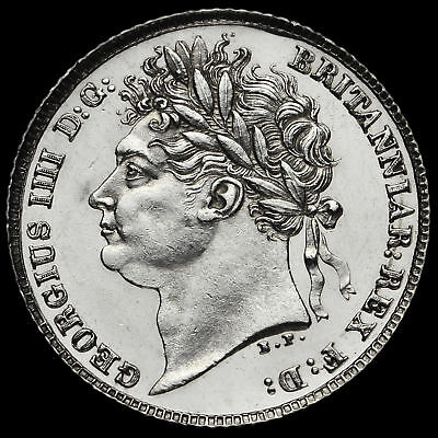 1821 George IV Milled Silver Sixpence, First Reverse, A/UNC