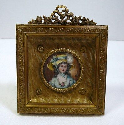 French Hand Painted Miniature Portrait in Gilt Bronze Frame Antique Vtg Signed