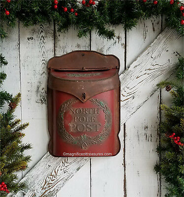 Christmas North Pole Post Rustic Santa Mailbox Letter Holder Embossed Metal Wall