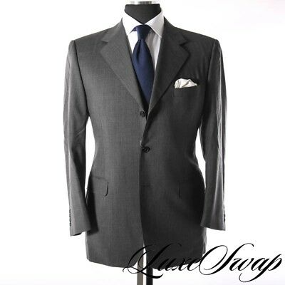Canali Made in Italy S120s Wool Steel Grey Subtle Stripe Dual Vent Suit 50 R NR