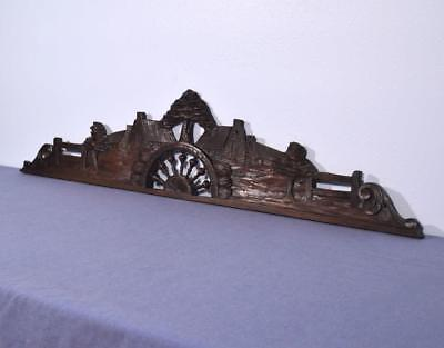 "*52"" French Antique Breton Pediment, Crown or Crest Chestnut Wood from Brittany"