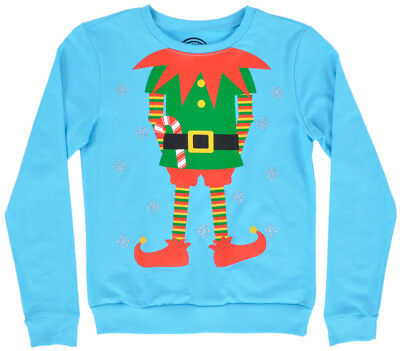 Elf Christmas Sweatshirt Crewneck Pullover Holiday Girls Age 8-14 Turquoise