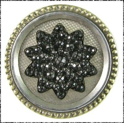 Large Victorian Metal Button with Stippled Black Glass Flower Stick-Up