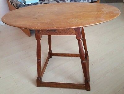 antique maple and pine small oval table 34 x 23, circa early 1900's
