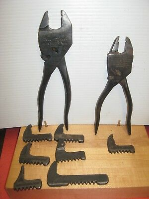 "2 Vintage Eifel Geared Plierench Tools with 7 Extra Jaws -- 8 1/2"" & 7"""