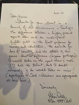 US Ace Robin Olds LETTER - AWESOME - BASEBALL/PILOT COMPARISON
