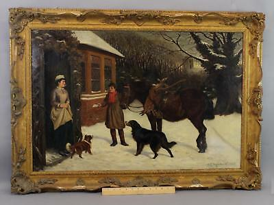 Antique WILLIAM E. MARSHALL Oil Painting, Mailman Courier Boy & Bernese Dog