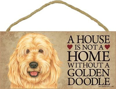 A House Is Not A Home GOLDENDOODLE Dog 5x10 Wood SIGN Plaque USA Made
