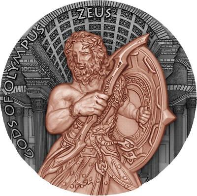Niue 2017 $5 Gods of Olympus - ZEUS - 2 Oz High Relief Silver Coin