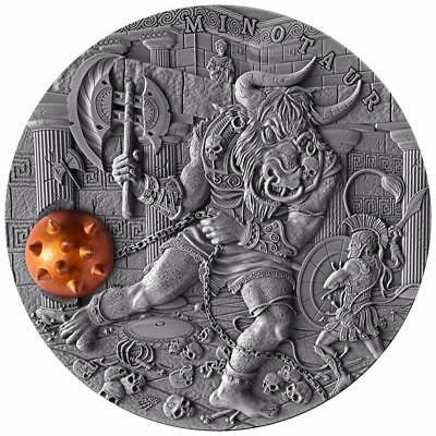Niue 2017 $5 Ancient Myths MINOTAUR 2 Oz Antique Finish Silver Coin