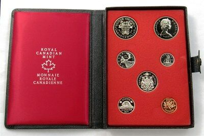 1971 Canada Double Dollar Specimen Set - 7 Coins - Leather Collector Case