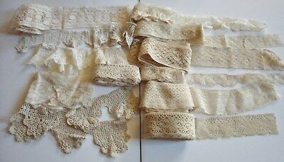 Large Lot Of Antique French Lace Trim Edging Insert Many Yards
