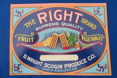 Vintage Can Label The Right Brand Fruits & Vegetables D.Wright Scogin Santa Rosa
