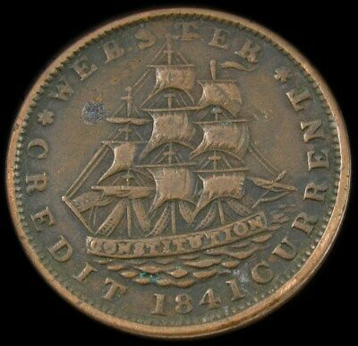 1841 Webster Credit Current/Not One Cent for Tribute Hard Times Token