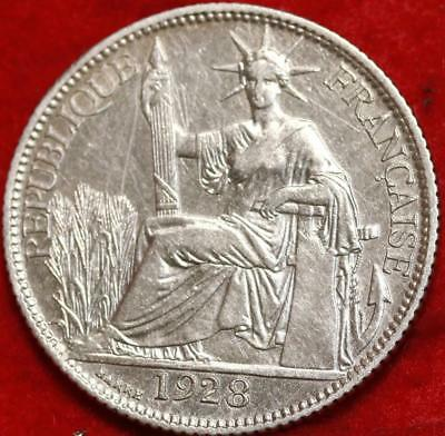 1928 French Indo China 10 Centimes Silver Foreign Coin Free S/H