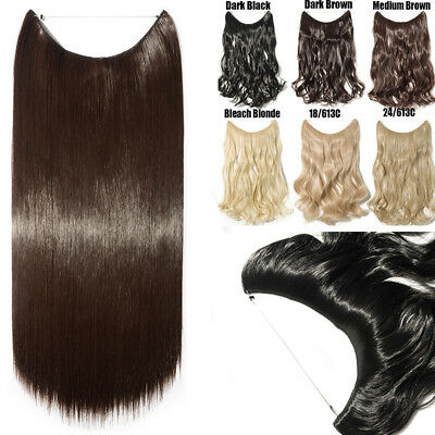 """Wire Handband Hair Extensions 20"""" Curly Straight Thick One Piece Halo Hairpiece"""