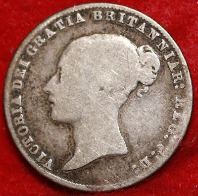 1858 Great Britain 6 Pence Silver Foreign Coin Free S/H
