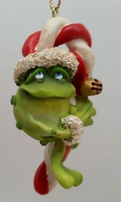 Doug Harris Adorable Christmas Frog Toadily Yours Candy Cane Ornament MIB