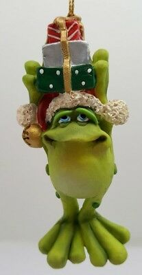 Doug Harris Adorable Christmas Frog Toadilly Yours Toad Presents Ornament MIB