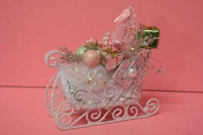 Christmas Ornaments Shabby Cottage Chic White Glittered Sleigh Pink Tree - J