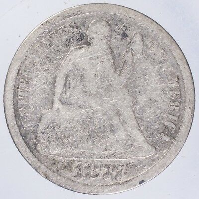 1877 CC Seated Liberty Dime VG rough