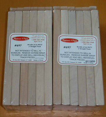 "New Set of 2 Packages Melissa & Doug 6"" Straight Wood Train Track 12 Pieces"