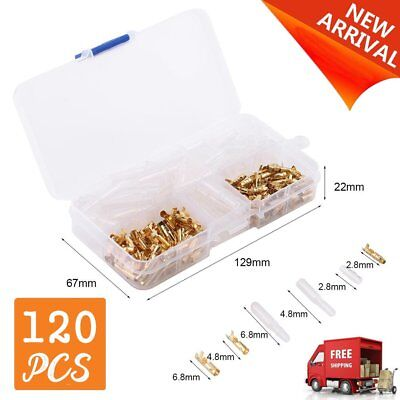 120pcs Brass Bullet 3.5mm Plug Crimp Terminal Insulated Cable Connection XRAU