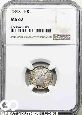 1892 NGC Barber Dime NGC MS 62 ** Super PQ for the Grade!