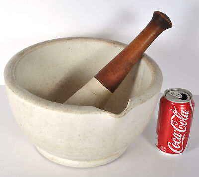 HUGE Antique TM&S Porcelain Acid Proof Mortar Pestle Crusher Apothecary Bowl 12""