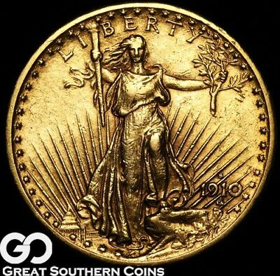 1910-S Double Eagle, $20 St. Gaudens, Early Gaudens Date ** Free Shipping!