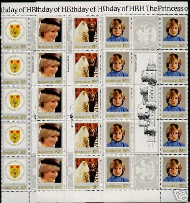 Barbados 585-8 Gutter Pair Strips MNH Princess DIana 21st Birthday, Crest