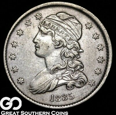 1835 Capped Bust Quarter, XF++/AU, Sharp! ** Free Shipping!