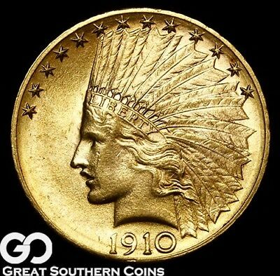 1910-D Eagle, $10 Gold Indian, Solid Gem BU+++ Lustrous Blazer ** Free Shipping!