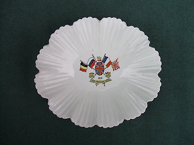 "Old ""For Freedom's Cause 1914 "" Allied Flags Fluted Dish Sutherland Art China"